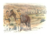 Two Corpsmen are Standing Next to a Horse in the Foreground Giclee Print by Roger Cooke