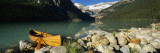 Canoe at the Lakeside, Lake Louise, Banff National Park, Alberta, Canada Wall Decal by Panoramic Images