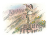 William Clark Standing on a Rocky Outcropping and Looking Through a Telescope Giclee Print by Roger Cooke