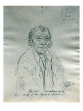 Portrait of James Ina-Me-To-Om-Shi-La Old Chief of the Nez Perce Indians Giclee Print by Gustav Sohon