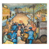 A Communist Street Meeting Being Broken Up by Police Giclée-tryk af Ronald Ginther