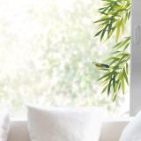 Foglie e uccello (vetrofania) Adesivo per finestre