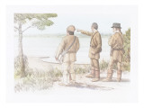 Meriwether Lewis and Two Corpsmen are Standing on a Bank Above the Columbia River Giclee Print by Roger Cooke