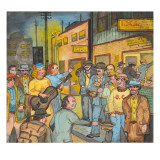 Women Evangelists Preaching and Singing to Men on Skid Road Giclee Print by Ronald Ginther
