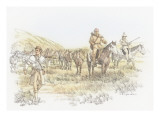 A Group of Three Corpsmen Leading a Group of Pack Horses Giclee Print by Roger Cooke