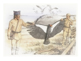 Two Corpsmen are Holding the Outstretched Wings of a Dead Condor Reproduction procédé giclée par Roger Cooke