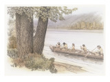 A Dugout Canoe on the Columbia River with an Indian and Four Corpsmen Giclee Print by Roger Cooke