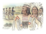 Three Indians are Seen in Close View in the Foreground Giclee Print by Roger Cooke