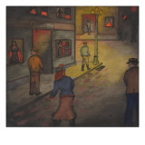 "A Nightime Scene of a ""Red Light"" District in Seattle Giclee Print by Ronald Ginther"