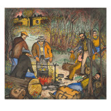 Unemployed Men Cooking Up a Mulligan Stew `Gathered' from Nearby Farms Giclée-tryk af Ronald Ginther