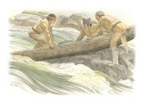 Three Corpsmen are Standing on Rocks in the Snake River Giclee Print by Roger Cooke