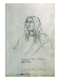Portrait of In-Hus-Cay-Stamy or I-Cas-Ke-Ny Low Horn Piegan Chief Giclee Print by Gustav Sohon