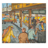 Some Unemployed Men Passing Through the Pike Place Market on their Way to the Soup Kitchen Giclee Print by Ronald Ginther