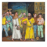 Two Robed, and Bearded Men Meet Accidently, Each Carrying the Holy Bible Giclee Print by Ronald Ginther