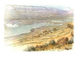 View of the Columbia River Gorge at Celilo Wyam Giclee Print by Roger Cooke