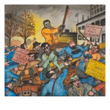 The Police Attacking a Meeting of the Unemployed Prior to the National Hunger March on Washington Giclee Print by Ronald Ginther