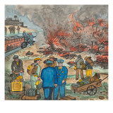 Shacktown (`Hooverville') Being Burned Down by Orders of the City Authorities Giclée-tryk af Ronald Ginther