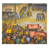 The Corner of Washington and Occidental Streets Just before Fighting Broke Out Giclee Print by Ronald Ginther