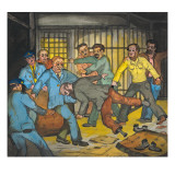 A Fight Breaks Out When an Inmate Refuses to Give Up His Mattress to Other Inmates Giclee Print by Ronald Ginther