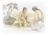 Two Corpsmen are Kneeling on the Ground Giclee Print by Roger Cooke