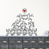 Stacked Figures with Heart Muursticker van Keith Haring