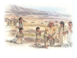 An Elderly Indian Man Kneels Among a Group of Five Indian Children Giclee Print by Roger Cooke