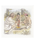 Two Corpsmen and an Indian Roasting Meat over a Fire Giclee Print by Roger Cooke