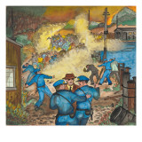 Tear Gas Being Used by Police with Clouds of Yellow Smoke Billowing Up Among a Crowd of Strikers Giclee Print by Ronald Ginther