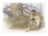 Sacagawea and Her Son are Kneeling Down, Looking at a Large Frog or Toad Premium Giclee Print by Roger Cooke