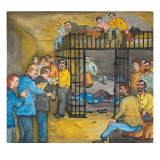 "Male Inmates in the ""Time Tank"" Listening to Two Male Preachers Reading Sunday Scriptures Giclee Print by Ronald Ginther"