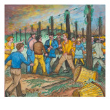 Two Men with Guns Drawn Confronting Two Other Men (Hop Yard Owners?) During a Hop Yard Strike Giclée-tryk af Ronald Ginther