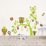 Chats, hiboux et oiseaux sur un arbre Autocollant mural