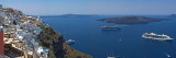Ships in the Sea Viewed from a Town, Santorini, Cyclades Islands, Greece Wall Decal by  Panoramic Images