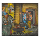 A Desperate Woman Foraging Through a Garbage Can and Filling Her Carriage with Liquor Bottles Giclee Print by Ronald Ginther