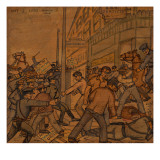 Men Fighting on Skid Road in Seattle Giclee Print by Ronald Ginther