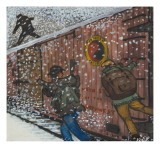 Three Male Transients Jump on a Traveling Freight Train Giclee Print by Ronald Ginther