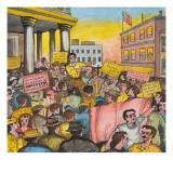 A Large Crowd of People with Signs Protesting the Attack on the Bonus Army Giclee Print by Ronald Ginther