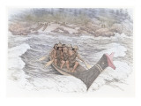 A Group of 5 Indian Men Paddling a Traditional Canoe Through Rough Water Giclee Print by Roger Cooke