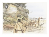 A Group of Corpsmen are Standing on a Beach Looking Up at a Yellowish Cliff Giclee Print by Roger Cooke
