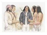 Meriwether Lewis and a Corpsmen Talking with Three Indians Giclee Print by Roger Cooke