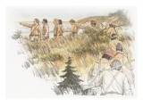 A Group of Eleven Corpsmen Led by William Clark are Following a Narrow Path to Mckenzie Head Giclee Print by Roger Cooke