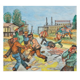 Company Goons Assaulting the Speaker and Organizers That Were  Preparing for a Meeting Giclee Print by Ronald Ginther