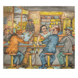 A Scene in a Seattle Skid Road Caf&#233; Giclee Print by Ronald Ginther