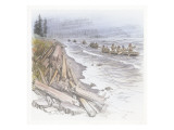 A Group of Five Canoes Filled with Corpsmen, Paddling Along the Shore of the Columbia River Giclee Print by Roger Cooke