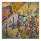 Santa Fe Freight Train on Siding Giclee Print by Ronald Ginther