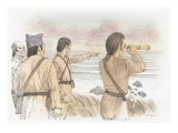 Clark and Three Corpsmen Standing on Mckenzie Head Looking Out to Sea Giclee Print by Roger Cooke