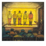 A Seattle City Jail Line-Up of Five Male Inmates Giclee Print by Ronald Ginther