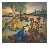 A Cow Being Butchered for Food Giclee Print by Ronald Ginther