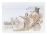 Four Corpsmen on the Shore of the Columbia River Giclee Print by Roger Cooke