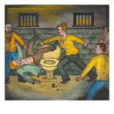 A Fight Scene in a Cell of the Seattle City Jail Giclee Print by Ronald Ginther